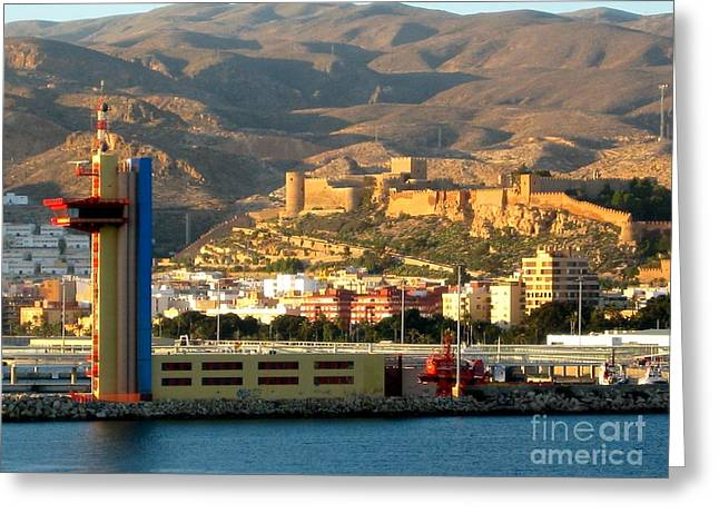 Buildings In The Harbor Greeting Cards - Castle in Almeria Spain Greeting Card by Phyllis Kaltenbach