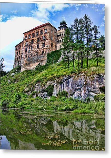 Castle In Valley Greeting Cards - Castle in Pieskowa Skala Greeting Card by Mariola Bitner