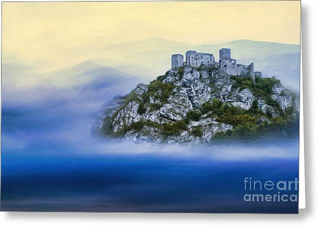 Greeting Cards - Castle in the air V. - Strecno Castle Greeting Card by Martin Dzurjanik