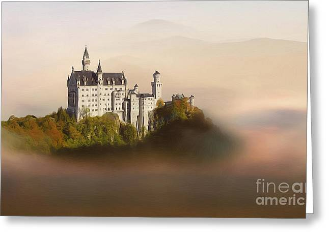Greeting Cards - Castle in the air VI. - Neuschwanstein Castle Greeting Card by Martin Dzurjanik