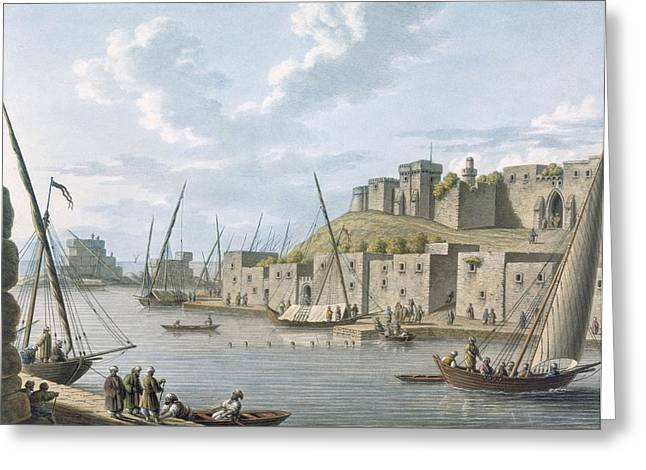 Docked Boat Greeting Cards - Castle In The Island Of Tortosa, 1805 Greeting Card by William Watts