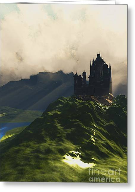 Fantasy World Greeting Cards - Castle in the Mist Greeting Card by Corey Ford