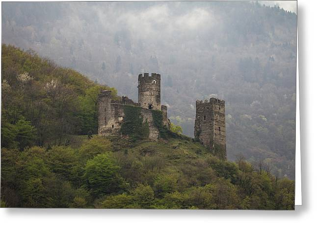 Bambers Greeting Cards - Castle in the Mountains. Greeting Card by Clare Bambers