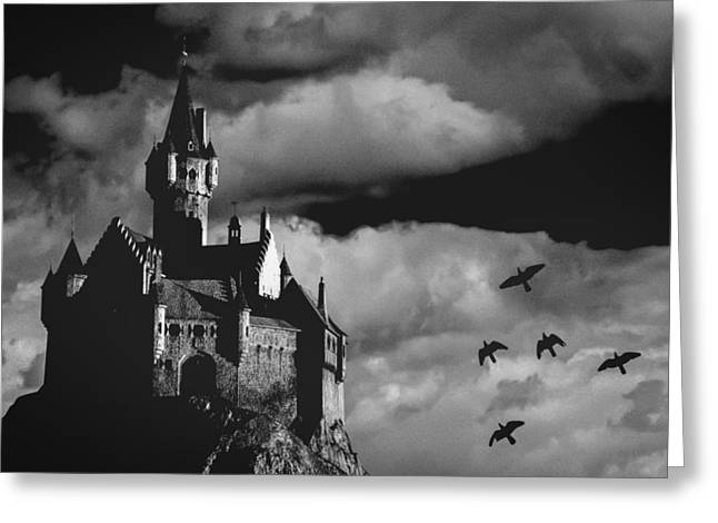 Castle Horror Illustration Greeting Cards - Castle in the sky Greeting Card by Bob Orsillo