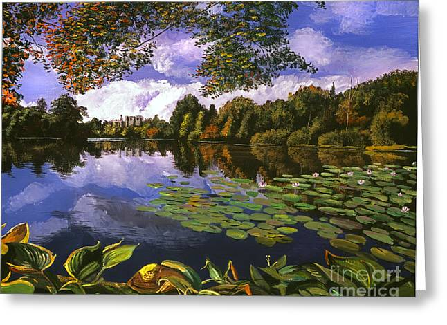 Autumn Landscape Paintings Greeting Cards - Castle Lake Greeting Card by David Lloyd Glover