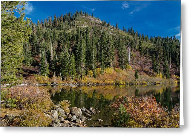 Castle On Mountain Greeting Cards - Castle Lake in Autumn Greeting Card by Greg Nyquist