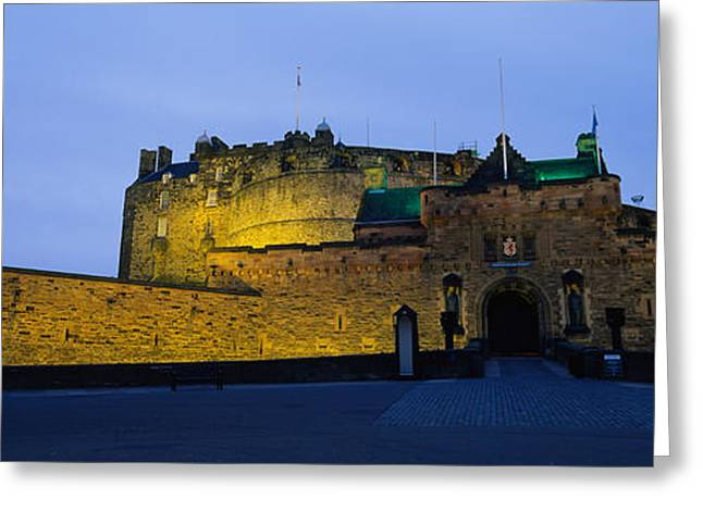 Fortified Wall Greeting Cards - Castle Lit Up At Dusk, Edinburgh Greeting Card by Panoramic Images