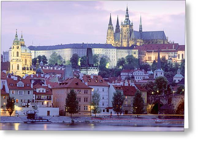 Castle Lit Up At Dusk, Hradcany Castle Greeting Card by Panoramic Images
