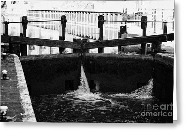 Nottingham Greeting Cards - Castle lock gates with water flowing nottingham canal nottingham england Greeting Card by Joe Fox