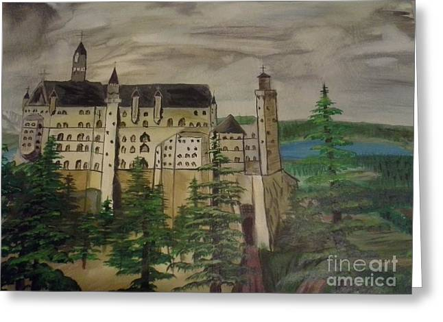 Dungeons Paintings Greeting Cards - Castle Neuschwanstein Greeting Card by Christopher Carter