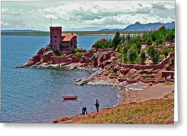 Owner Digital Art Greeting Cards - Castle of a European  Owner on Lake Titicaca in Peru Greeting Card by Ruth Hager