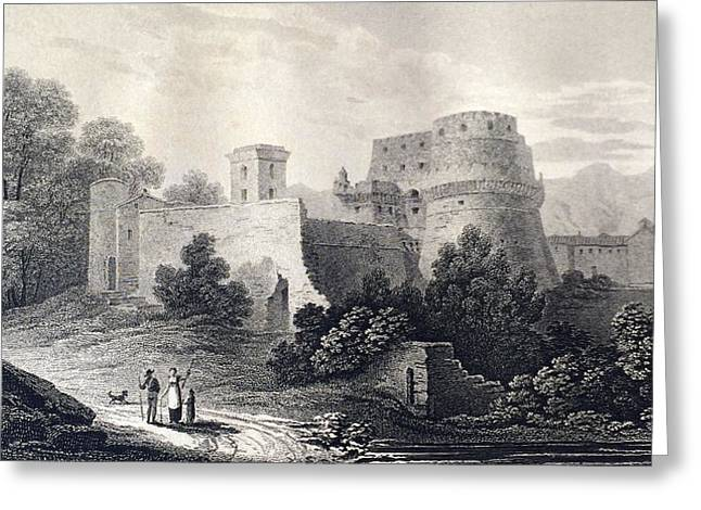 Famous Bridge Drawings Greeting Cards - Castle of Lavenza Greeting Card by Elizabeth F Batty