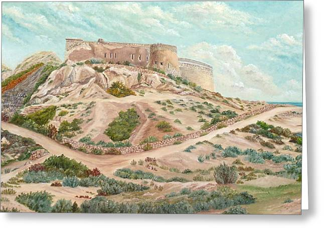 Sand Fences Paintings Greeting Cards - Castle of Rodalquilar  Greeting Card by Angeles M Pomata