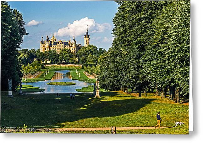 Castle Of Schwerin Landscape Greeting Card by Michael Lobisch-Delija