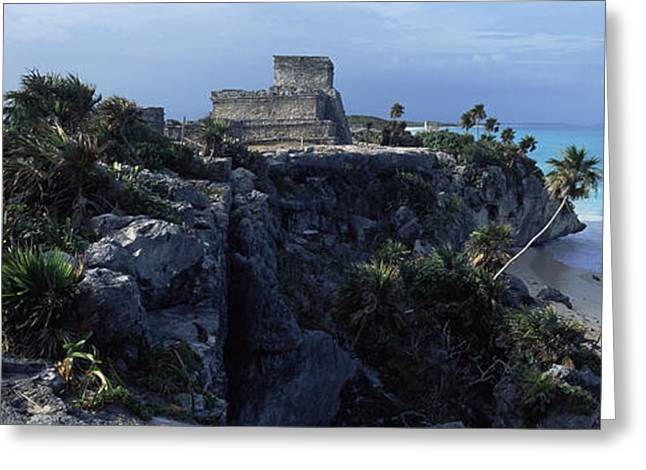 Mexican Culture Greeting Cards - Castle On A Cliff, El Castillo, Tulum Greeting Card by Panoramic Images