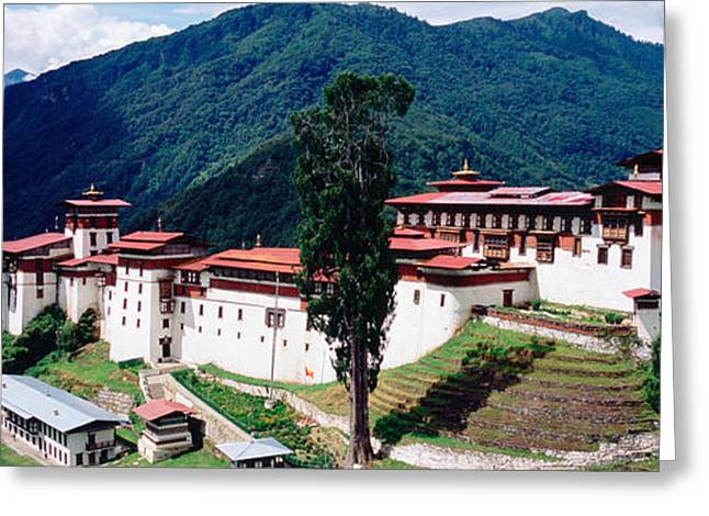 Overcast Day Greeting Cards - Castle On A Mountain, Trongsar Dzong Greeting Card by Panoramic Images