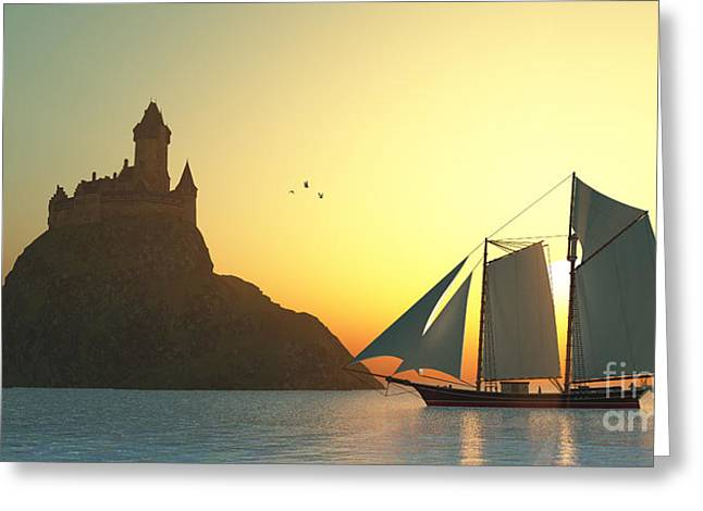 Historic Schooner Digital Greeting Cards - Castle on the Sea Greeting Card by Corey Ford