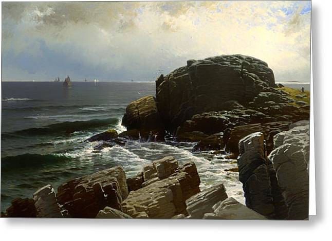 Panoramic Ocean Paintings Greeting Cards - Castle Rock at Marblehead Greeting Card by Alfred Bricher