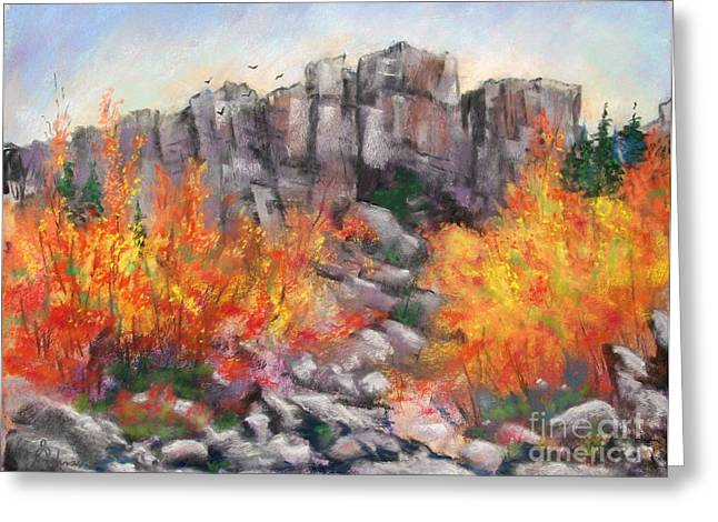Etc. Pastels Greeting Cards - Castle Rock Greeting Card by Bruce Schrader