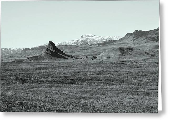 Pastureland Greeting Cards - Castle Rock in Black and White Greeting Card by Lisa Holland-Gillem