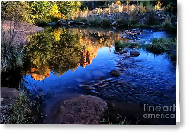 Castle Rock Reflection Greeting Card by Barbara D Richards