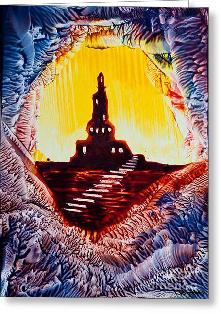 Scifi Paintings Greeting Cards - Castle rock silhouette painting in wax Greeting Card by Simon Bratt Photography LRPS