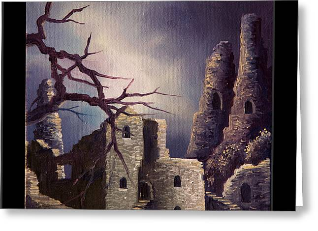 Ancient Ruins Paintings Greeting Cards - Castle Ruins IV Greeting Card by James Christopher Hill