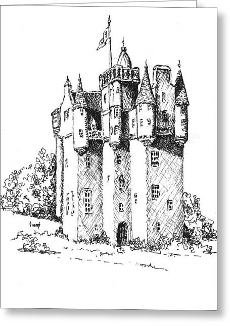 Fantasy Drawings Greeting Cards - Castle Greeting Card by Sam Sidders
