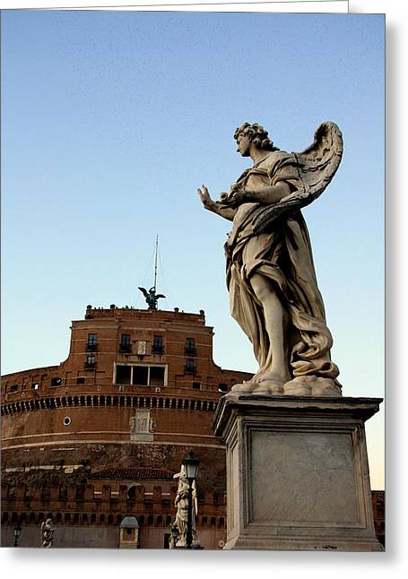 Rome Pyrography Greeting Cards - Castle SantAngelo Greeting Card by Evgenia Zarubin