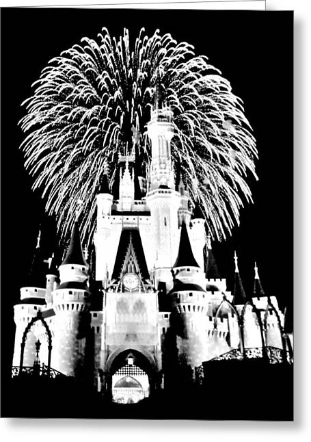 Cinderellas Castle Greeting Cards - Castle Show Black and White Greeting Card by Benjamin Yeager