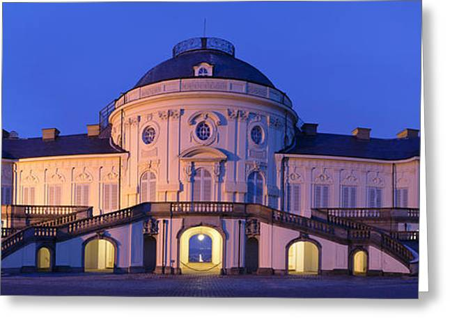 Staircase Greeting Cards - Castle Solitude Lit Up At Night Greeting Card by Panoramic Images