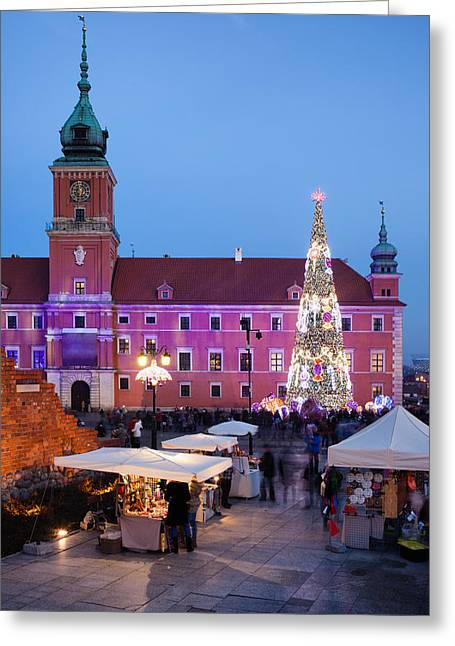 Polish Old Town Greeting Cards - Castle Square at Christmas Time in the Old Town of Warsaw Greeting Card by Artur Bogacki