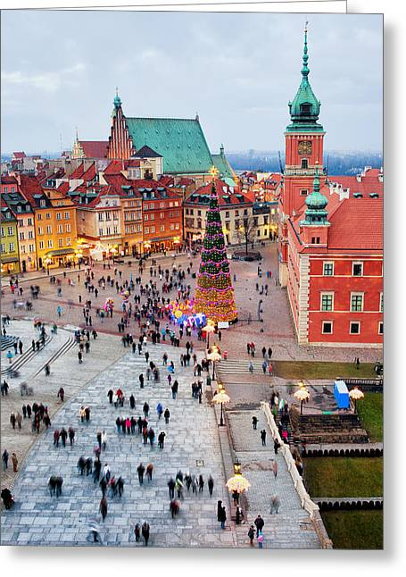 Polish Old Town Greeting Cards - Castle Square in the Old Town of Warsaw Greeting Card by Artur Bogacki