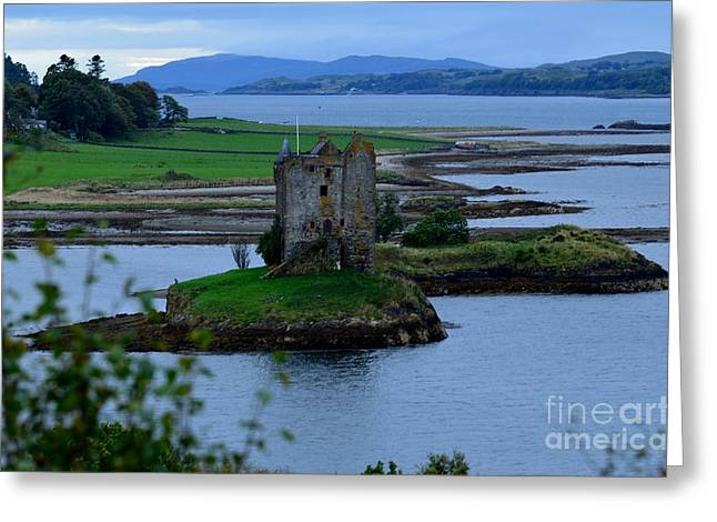 Campbell Clan Greeting Cards - Castle Stalker Greeting Card by DejaVu Designs