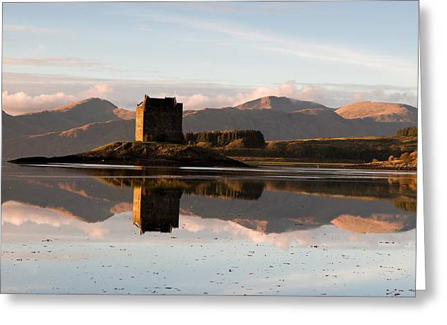 West Highland Greeting Cards - Castle Stalker - Sunset Greeting Card by Pat Speirs