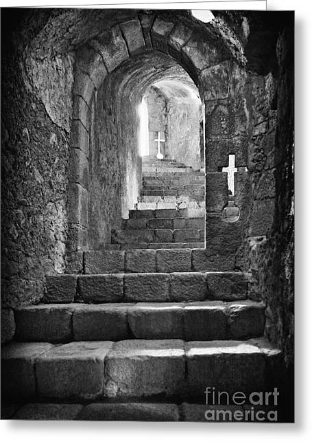 Subterranean Greeting Cards - Castle Subterranean Staircase Greeting Card by Jose Elias - Sofia Pereira