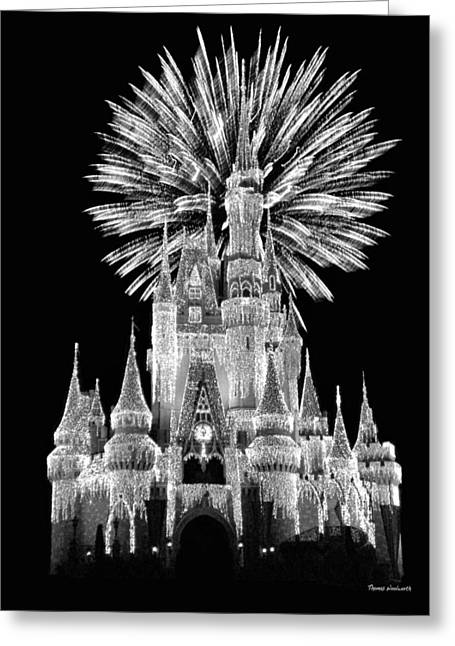 Recently Sold -  - Main Street Greeting Cards - Castle With Fireworks in Black and White Walt Disney World Greeting Card by Thomas Woolworth