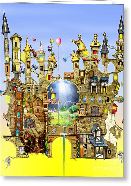 Broken-in Greeting Cards - Castles in the Air  Greeting Card by Colin Thompson