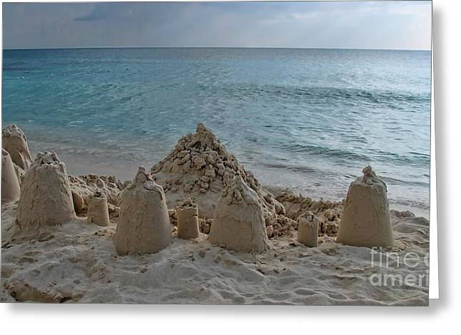 Sand Castles Greeting Cards - Castles In The Sand Greeting Card by Peggy J Hughes