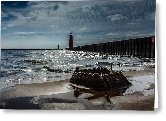 Sand Castles Greeting Cards - Castles Made of Sand Fall To The Sea Eventually Greeting Card by Randy Scherkenbach