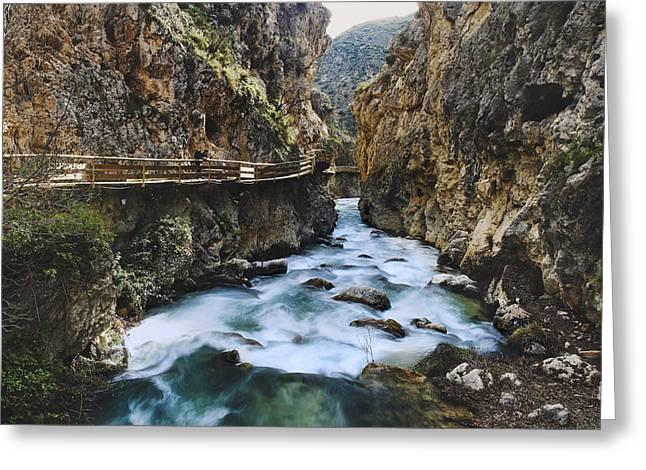 Granada Greeting Cards - Castril river Retro Greeting Card by Guido Montanes Castillo