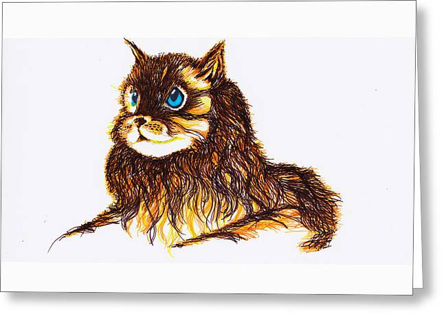 House Pet Drawings Greeting Cards - Cat 1 Greeting Card by Len YewHeng