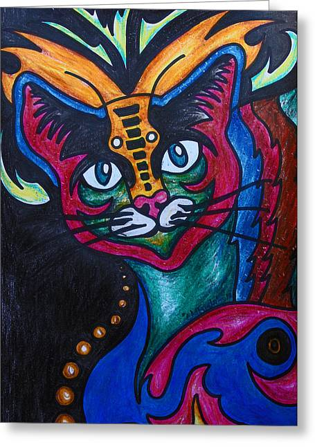 Indoor Drawings Greeting Cards - Cat 2 Greeting Card by Carol Mallillin-Tsiatsios