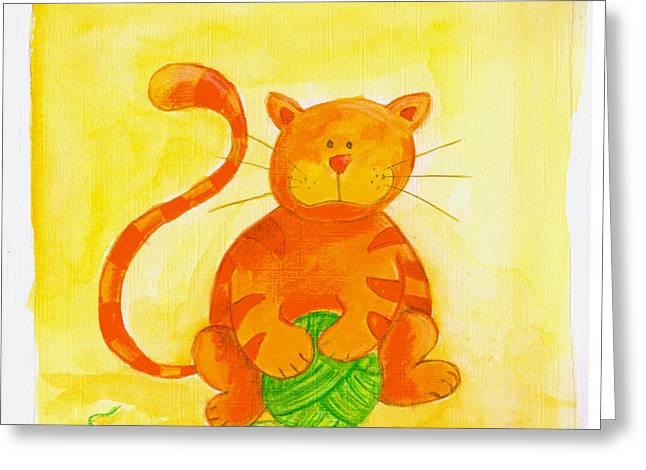 Juvenile Paintings Greeting Cards - Cat 2 Greeting Card by Esteban Studio