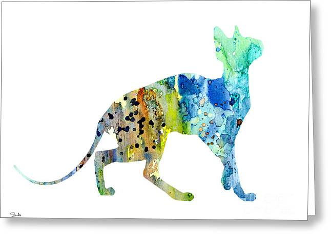 Animal Posters Greeting Cards - Cat 2 Greeting Card by Lyubomir Kanelov