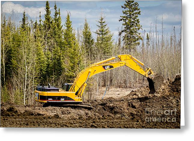 345 Greeting Cards - CAT 345 Excavator  Greeting Card by Alanna DPhoto