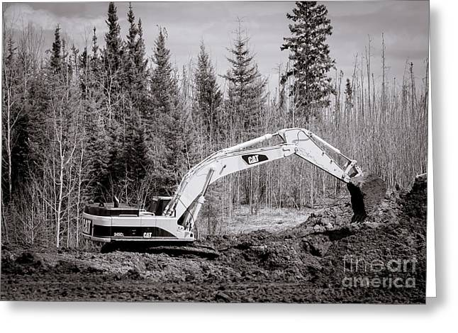 345 Greeting Cards - CAT 345D Excavator Greeting Card by Alanna DPhoto