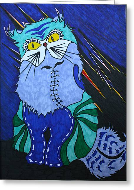 California Beach Art Drawings Greeting Cards - Cat 4 Greeting Card by Carol Mallillin-Tsiatsios