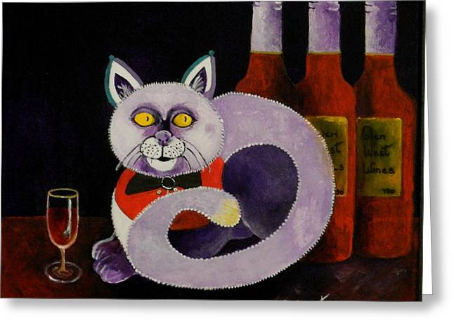 Recently Sold -  - Red Wine Prints Greeting Cards - Cat-alcoholic Bar Cat Greeting Card by Sandra Sengstock-Miller