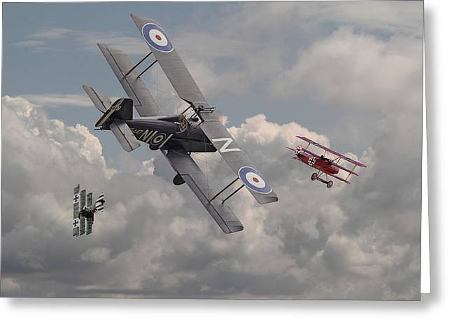 Biplane Greeting Cards - Cat among the Pigeons Greeting Card by Pat Speirs